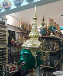 Mask Khon green Thai Handmade Ramayana Home Decor Collectible Gift