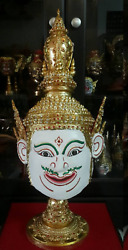 Mask Khon White Thai Handmade Ramayana Home Decor Collectible Gift
