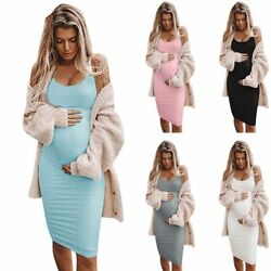 Sleeveless Maternity Dress Sexy Casual Pregnancy Clothes For Women Comfy Dresses $33.14