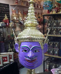 purple  Mask Khon  Ramayana Pinwheel air Home Art Decor Collectible Thai Handmad