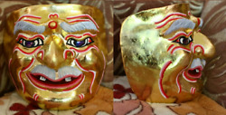 Golden purple mask Khon Ramayana Pinwheel air Home Art Decor Collectible Thai