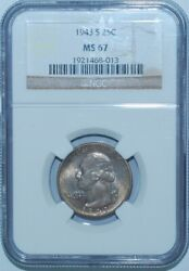 1943 S Ngc Ms67 Medium S Fs-502 Washington Quarter