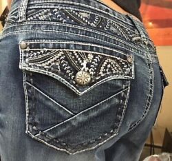 Soundgirl Bootcut Bling Yolk Embellished Jeans Size 17 Nwtand039s 36 X 32 64 New