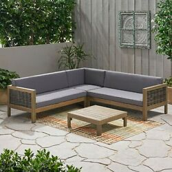 Elizabeth Outdoor Wood And Wicker 5 Seater Sectional Sofa And Coffee Table Set