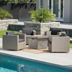 Venice Outdoor 5 Piece Chat Set With Mixed Black Wicker Chairs And Fire Pit