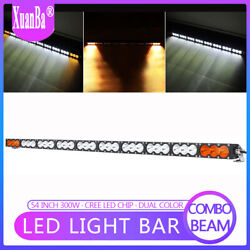 54'' 300W LED Work Light Bar Flood Spot Off-road Fog Lamp Dual Color White