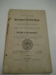 Ultra Rare 1865 Journal Of The Grand Lodge Of Free Masons Of New Hampshire