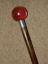 Antique Walking Stick With Murano Glass Ball Top And H/m Silver Collar London 1926