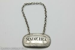 Georgian Cast Sterling Silver Madeira Decanter Label Charles Rawlings 1817