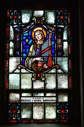 Nice Older Stained Glass Church Window + St. Cecilia + 50 Of 58 Chalice Co.