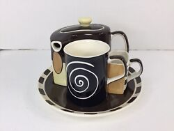 Coffee Tea Set Service For One Brown Huesnbrews