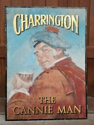 Vintage The Cannie Man Pub Sign W/ Scottish Gentleman Enjoying An Ale Or Beer