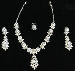 Estate Prongset Rhinestone Faux Pearl Necklace Earring Ring Set High End Wedding