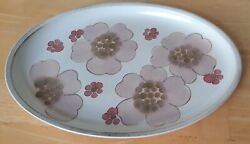 Denby Gypsy Stoneware Oval Platter, Pink Floral, Discontinued, 1972-1989, Englan