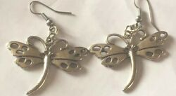 Dragonfly Dangle Drop Earrings - 925 Sterling Silver Good Quality Dragonflies
