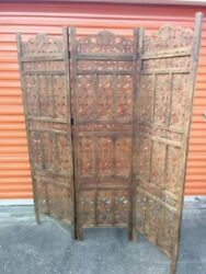 3 Panel Folding Screen Luxury Hardwood Hand-Carved Privacy Screen Room Divider
