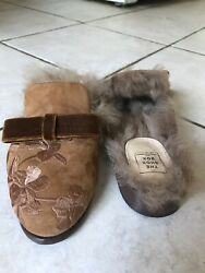 The Shoe Box Toscana Sheepskin Suede Embroidered Slip-on Slippers Shoes Size 36