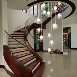 Lobby Clear Glass Chandelier Lighting Pendant Lamp Ceiling Fixture Stair Lights