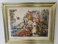 Landscape Fruit And Flowers Hand Colored Lithograph F. F. Palmer Currier And Ives