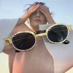 Oval Gold Sunglasses Diamond Women Crystal Lens Luxury Vintage Men Women 2020 $16.99