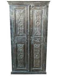Antique Large Cabinet Armoire Rustic Wardrobe Floral Design Solid Wood Storage
