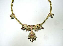 L@@k Real 18k Gold Traditional Indian Thread Necklace Emerald Ruby Pearl Pendant