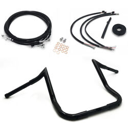 Black 16 Twin Peaks Ape Hanger Handlebar Package Cables For Harley 14-17 Tourin