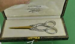 Antique French Sterling Silver Grape Shears Boxed Minerva 2 Mark 15 Cm Beautiful