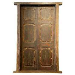 Large Antique Indian Painted Teak Paneled Double Door And Jamb 19th Century