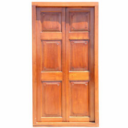 Antique Large Anglo Indian Teak Paneled Double Door With Frame 19th Century