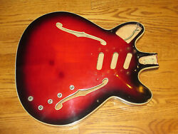 Framus Guitar Body - Made In Germany In The 1960and039s - 335 Bolt On - Red Quilt
