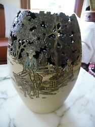 Beautiful Reticulate Cut-out Pottery Vase - Rodney Leftwich -north Carolina