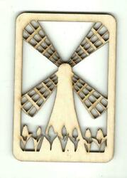 Windmill And Tulips - Laser Cut Wood Shape Wld78