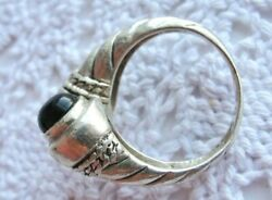 Estate Ring Sterling Silver Bypass Cable Twist Ring Onyx Milk Glass Stones Qvc