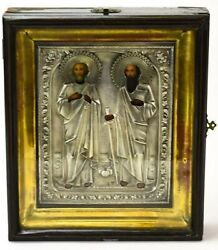 Antique 19c 84 Silver Hand Painted Russian Icon Of The Peter And Paul With Kiot