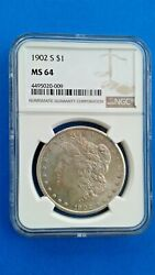 1902 S Morgan Silver Dollar Ngc Ms64 - Light Gold Toning - A Better Date In 64