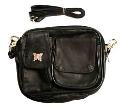 Leather Motorcycle Purse Butterfly Accent Belt Loop Shoulder Strap Multipocket $26.62