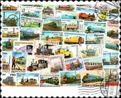 Locomotives Trains Railway And Railroad 200 Different Stamps Collection