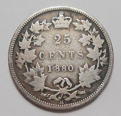 1880h Wide 0 Twenty-five Cents G-vg Rare Date Key Variety Early Victoria Quarter