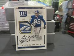National Treasures On Card Autograph Jersey Giants Michael Strahan 2/2 2016