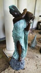 Classical Cast Bronze Sculpture Fountain Rebecca At The Well Lady With Urn 56h