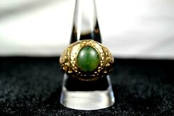 10k Solid Gold Emerald Marine Corp. Wwii Veteran Estate Handh Imperial Ring 17gr