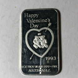 1993 National Happy Valentineand039s Day 1 Ounce .999 Silver Art Bar