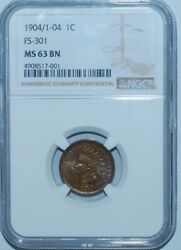 1904 Ngc Ms63bn Fs-301 S-10 Rpd Repunched Date Indian Head Cent