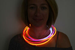 Directglow 100ct Red/orange/white 22 Inch Glow Necklaces Preattached Connectors
