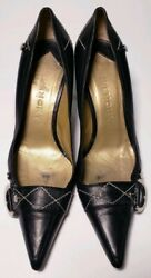 GIVENCHY Designer Black Leather Pointed Toe Heels Classic Shoes! Size 6 ( 36.5) $70.00