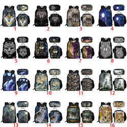 Cool Wolf Animal School Backpack Boys Men Lunch Tote Penbag Laptop Rucksack Gift