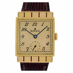 Rolex Square 3570 18k rose gold, Gold dial, 26mm Manual watch