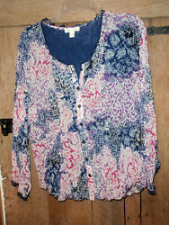 COLDWATER CREEK Peasant Boho Hippie Navy Blue Maroon Ruffle Blouse Button Top S