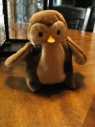 Rare Retired Ty Beanie Baby Hoot With Tag Errors And Pvc Pellets 1995